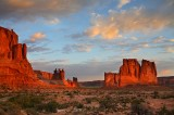 First, Light, Desert, Arches National Park, Moab, Utah, light, sandstone, three gossips, the organ, courthouse towers,