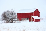 wisconsin, red barn, snow, barn, structure, rural, landscape, red, midwest,