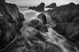 horizontal, seal rocks, oregon coast, oregon, central oregon, waves, ocean, rocks, black and white, black white, ocean,