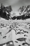 dream lake, lake, winter, snow, rocky mountain national park, black and white, mountains, hallet, flattop mountain, ice,