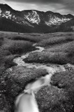 snow, run off, summer, july, white river national forest, loveland pass, co, colorado, black and white, b+w, black, whit