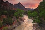 sunset, watchman, virgin, river, zion, national, park, storm, ablaze, limited edition, Utah, UT
