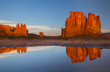 arches reflection, arches national park, storm, water, reflection, three gossips, moab, the organ, sunrise, orange, glow,