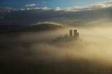 Corfe Castle, corfe, dorset, castle, fortress, fog, mist,