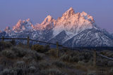 tetons, grand teton, cathedral group, sunrise, snow, rockies,