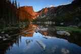 dream lake, sunrise, dream, lake, reflection, reflections, rocky mountain national park, colorado, lake,