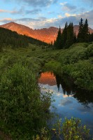mayflower gulch, sunset, mountain, mountains, colorado, alpenglow, water, reflection,