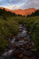 mayflower creek, mayflower gulch, river, colorado, rivers, water, mountain, mountains, sunset, aplenglow,