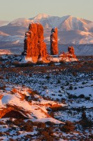 garden of eden, arches national park, arches, snow, sunset, mountains, mountain,