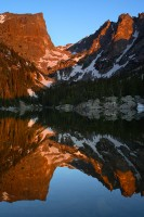 dream lake, lake, reflection, rocky mountain national park, sunrise, hallett peak, flattop mountain, colorado