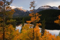 bear lake, longs peak, rocky mountain national park, fall, autumn, reflection, aspens, aspen, lake