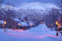 winter, morning, breckenridge, colorado, storm, powder, street, snow, morning, town,