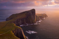 neist point lighthouse, neist point, isle of skye, scotland, sunset, rain, color, light house,
