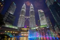 petronas towers, city lights, kuala lumpur, malaysia, skyscraper, sunset, water, twin towers,