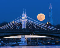 chelsea, kensington, royal, bridge, albert bridge, battersea, battersea bridge, supermoon, moon, full moon, blue moon, shard, the shard, thames,