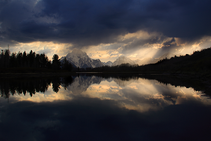oxbow bend, sunset, grand teton national park, grand tetons, tetons, mt moran, moran, mount moran, reflection, the oxbow, photo