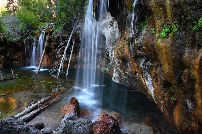 hanging lake, cascade, waterfall, deadhorse creek, canyon, glenwood springs, colorado, turquoise, water, travertine, 016, photo
