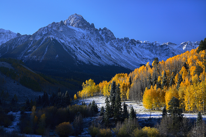 mt sneffels, mt. sneffels, mount sneffels, sneffels, san juan mountains, colorado, autumn, fall, aspens, snow, , photo