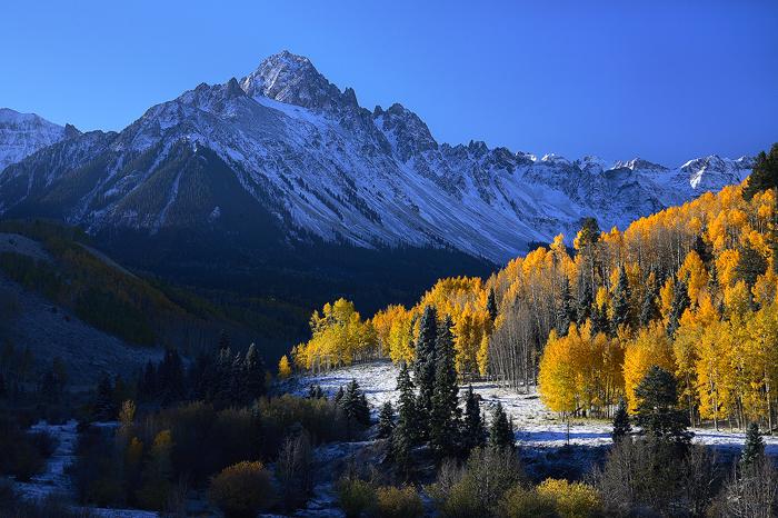 mt sneffels, mt. sneffels, mount sneffels, sneffels, san juan mountains, colorado, autumn, fall, aspens, snow, , photo