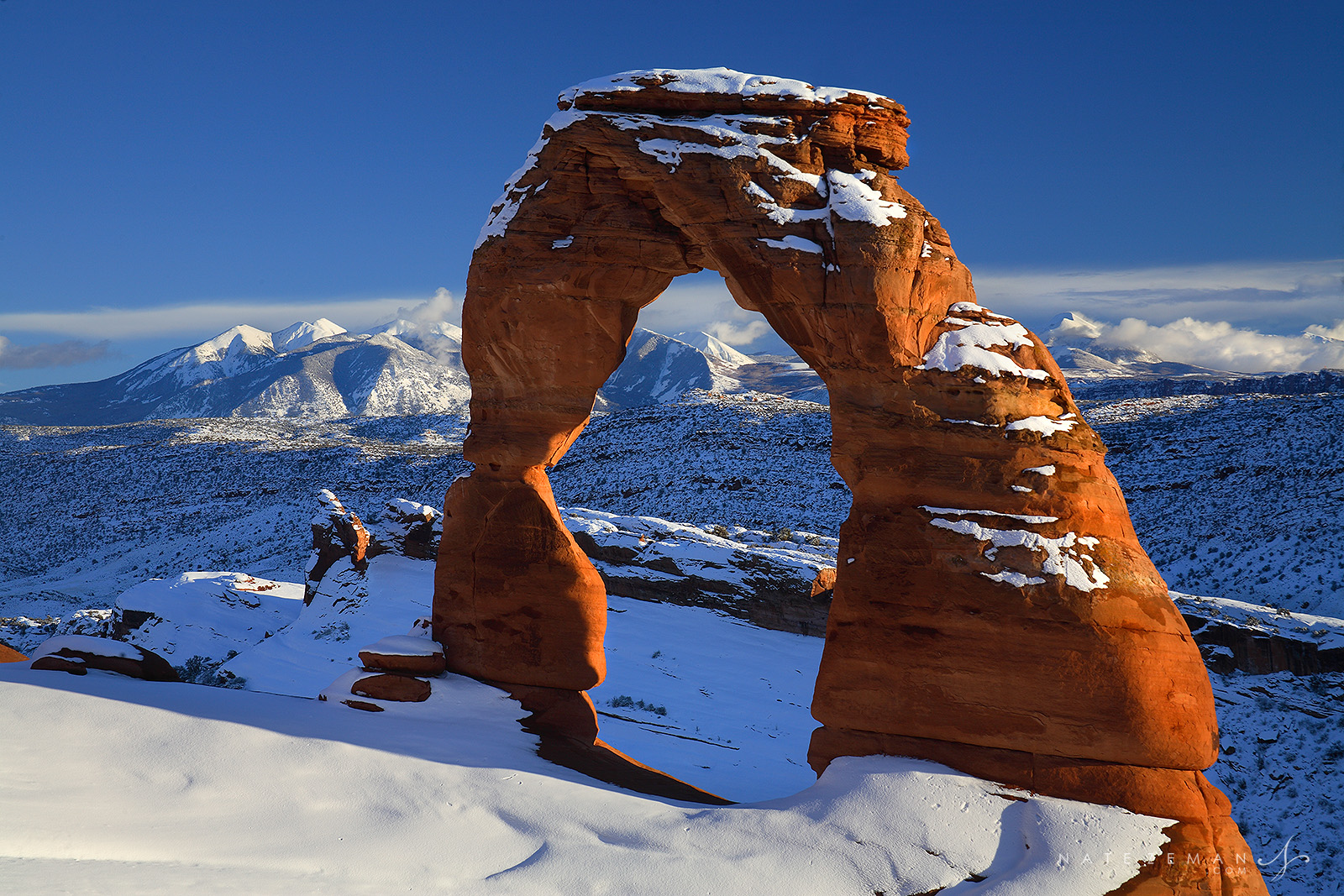 delicate arch, delicate, arch, arches national park, utah, arches, national, park, snow, winter, sunset, , photo