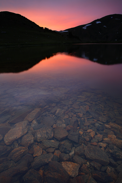 pass lake, lake, reflection, twilight, sunset, mountains, colorado, loveland pass, pass, rocks, , photo