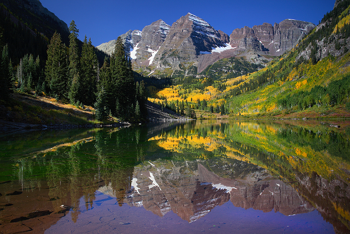 the maroon bells, maroon bells, bells, maroon lake, aspen, colorado, fall, autumn, lake, reflection, photo