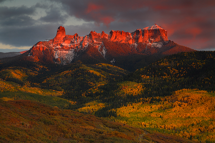 glow, chimney, rock, owl, creek, pass, uncompahgre, national, forest, colorado, sunset, color, alpenglow, ridge, owl cre, photo
