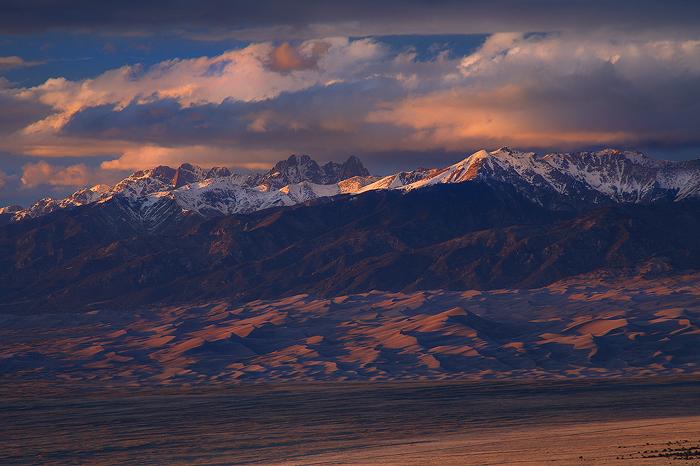 great sand dunes, national park, colorado, sand dunes, dunes, sunset, sangre de cristo, mountains, mountain, , photo