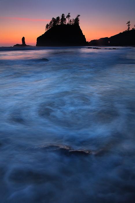 sunset, twilight, second beach, olympic national park, olympic peninsula, washington, la push, ocean, water, , photo