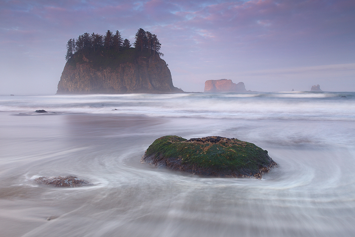 Waves crash onto second beach on the Olympic Peninsula. A slow exposure shows the water rushing back into the sea. Peaking my...