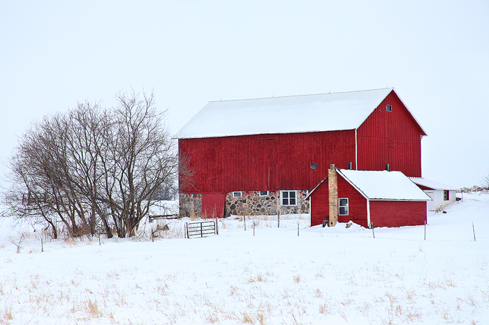 wisconsin, red barn, snow, barn, structure, rural, landscape, red, midwest, , photo