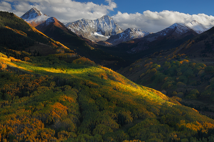 september, capitol peak, colorado, white river national forest, elk mountains, fall, aspen, gold, landscape, snow, mount, photo