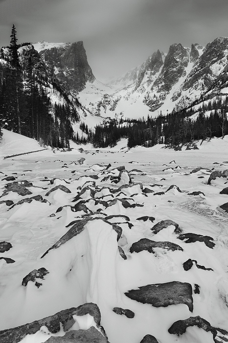 dream lake, lake, winter, snow, rocky mountain national park, black and white, mountains, hallet, flattop mountain, ice,, photo