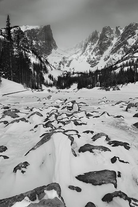 dream lake, lake, winter, snow, rocky mountain national park, black and white, mountains, hallet, flattop mountain, ice,, photo