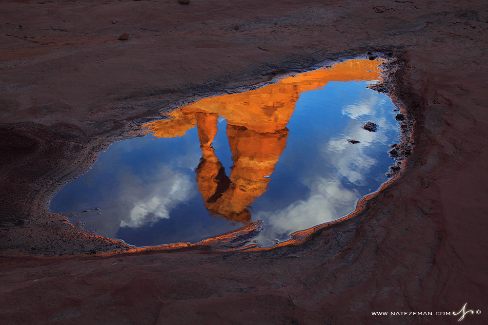 oasis, delicate arch, arches national park, utah, moab, ut, puddle, reflection, abstract, icon, america, photo
