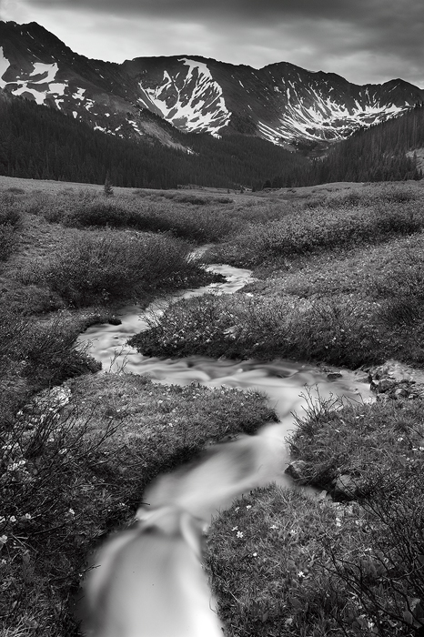 snow, run off, summer, july, white river national forest, loveland pass, co, colorado, black and white, b+w, black, whit, photo