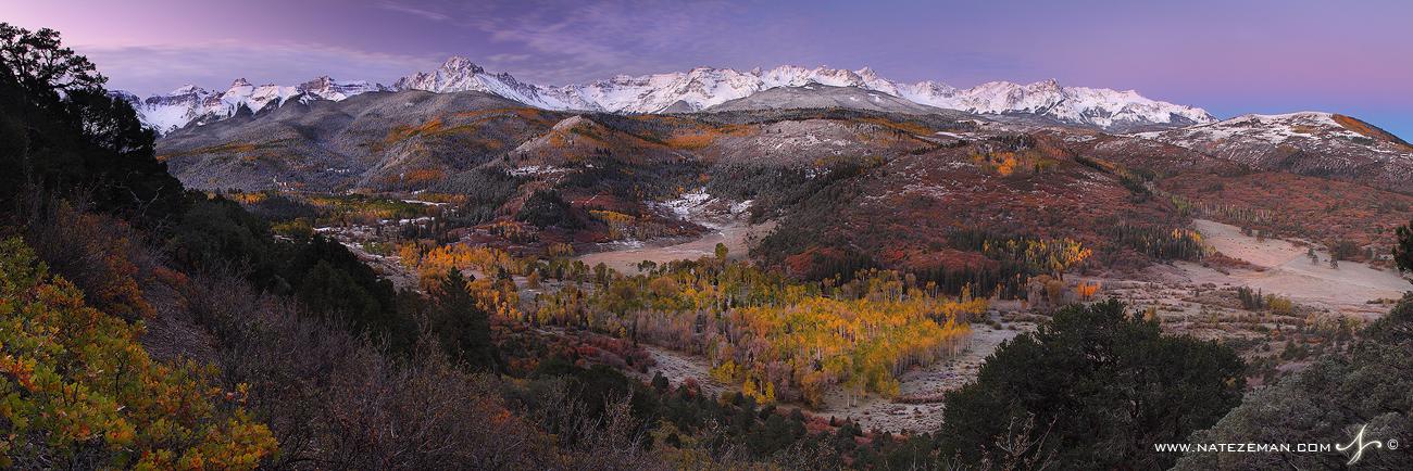sneffels range, san juan mountains, colorado, co, sun, panorama, sky, color, fall, autumn, snow, storm, range, fourteene, photo