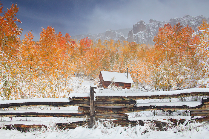uncompahgre national forest, colorado, silverjack, autumn, snow, fall color, colors, cimarron ridge, orange, white, blue, photo