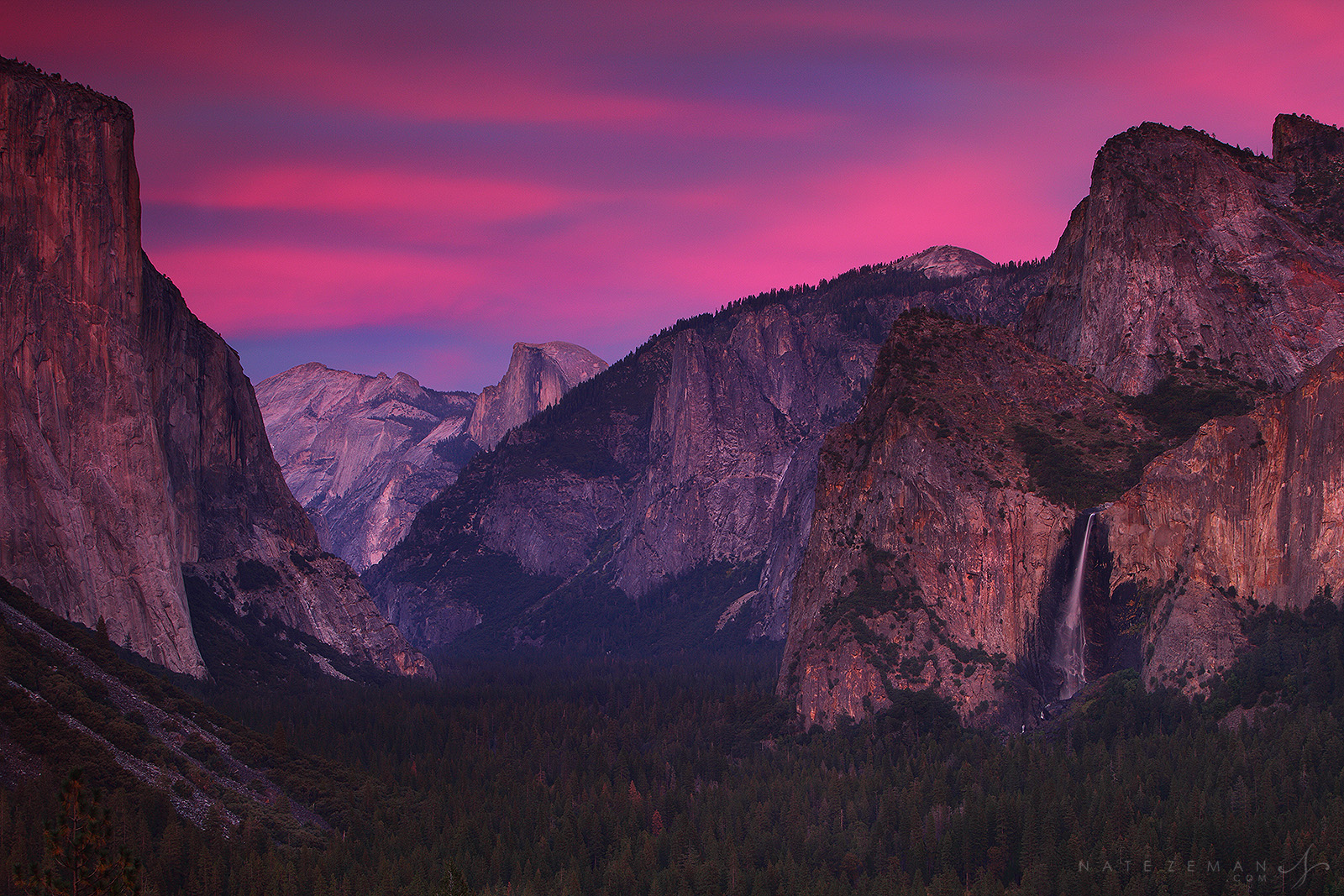 Yosemite national park, tunnel view, ansel adams, galen rowell, waterfall, bridalveil, sunset, half dome, el capitan, fa, photo