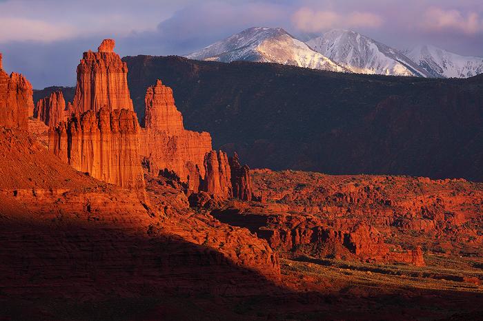 fisher, towers, utah, towers, of, fire, moab, utah, sunset, la, sal, mountains, clouds, light, scene, , photo