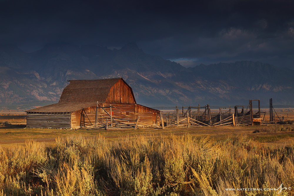 Grand tetons, national park, tetons, wyoming, wy, barn, mormon row, storm, clouds, mountains, , photo