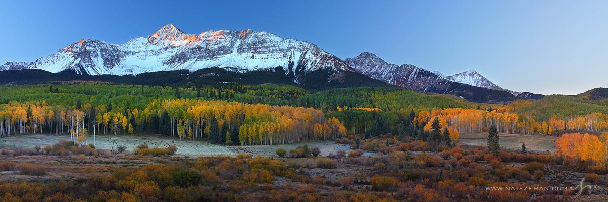 wilson peak, wilson mesa, telluride, colorado, san juan mountains, mountain, snow, aspens, fall, autumn, panorama, sunrise, morning, photo