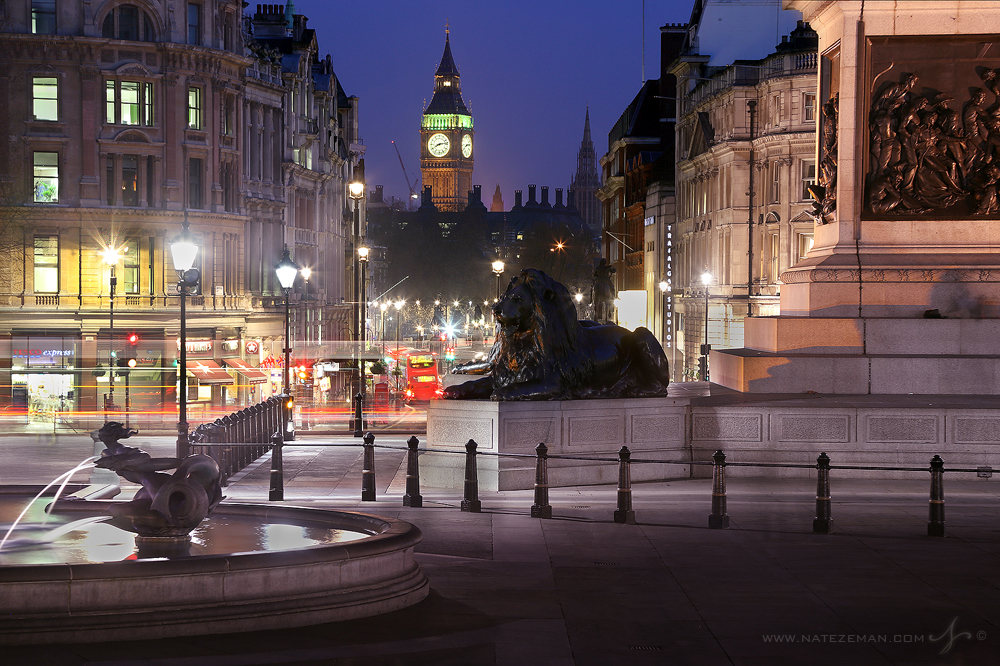 Trafalgar square, night, westminster, london, england, photo