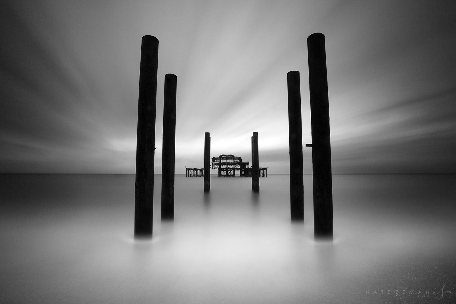 brighton, west pier, long exposure, fire, water, wind, ruin, dilapidated, pier, black and white, urban decay, abandoned, , photo