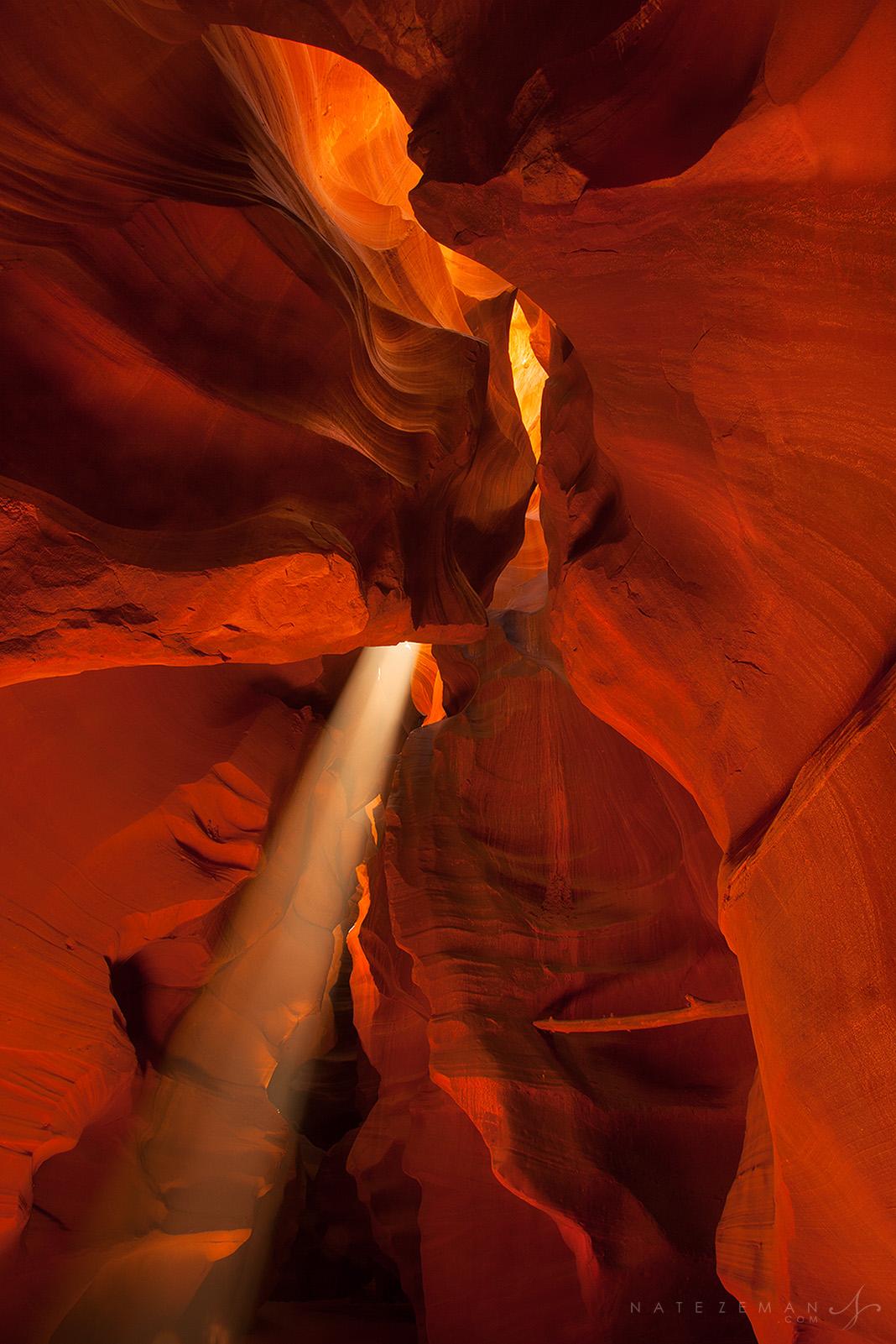 antelope canyon, slot canyon, light beam, red, sculpture, navajo nation, arizona, , photo