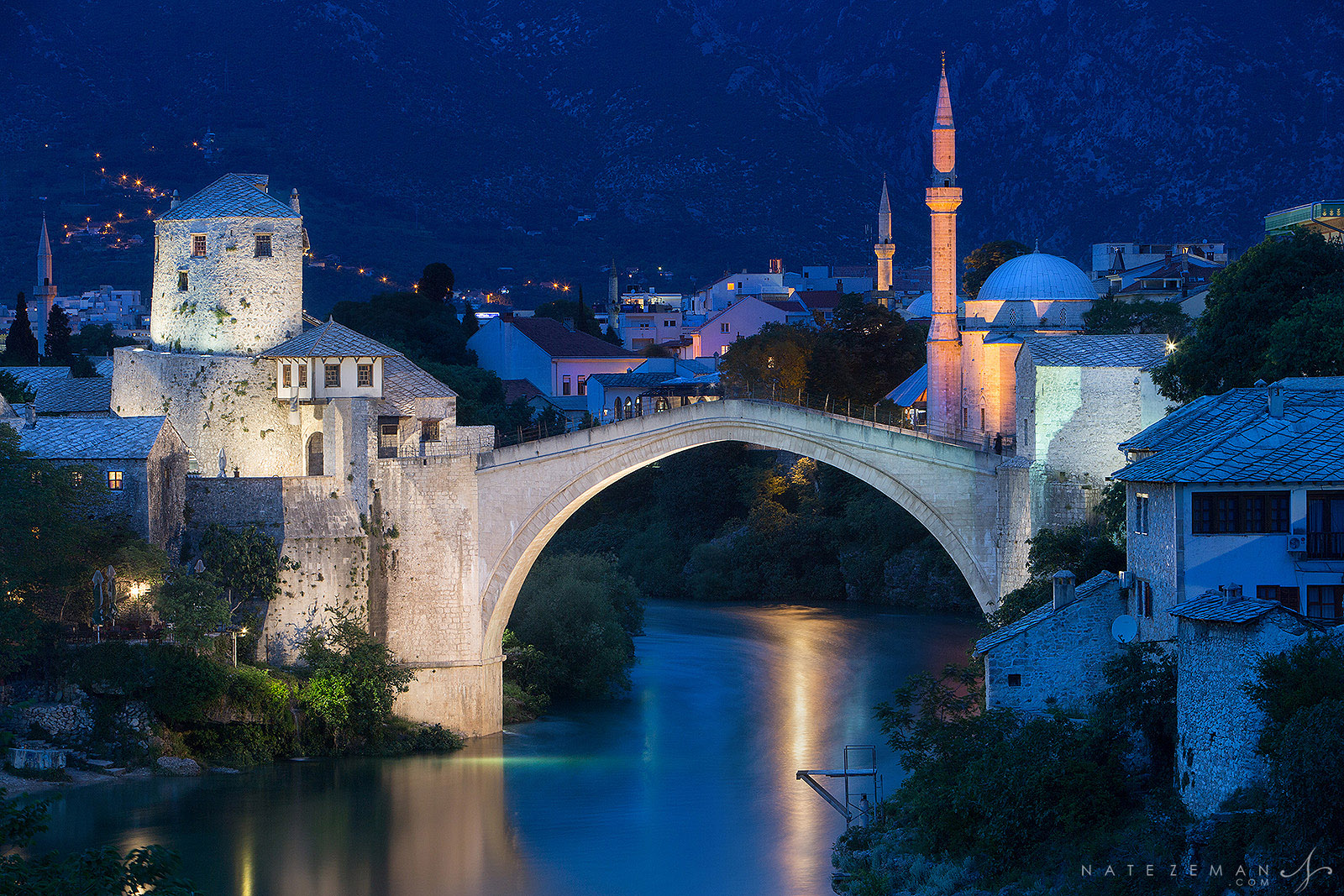 Bluehour arrives in one of the most amazing cities I've ever had the chance to photograph. Urbanization of Mostar, in Bosnia...