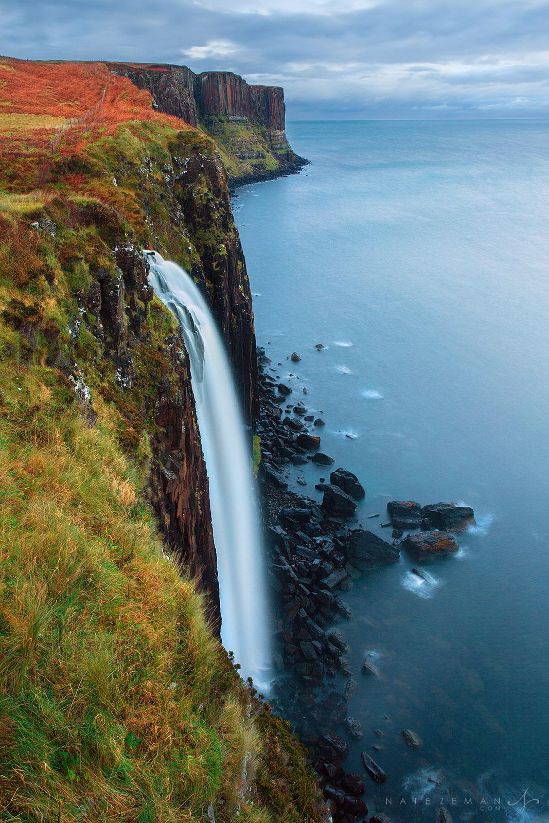 mealt falls, isle of skye, skye, trotternish, waterfall, loch mealt, kilt rock, basalt, , photo