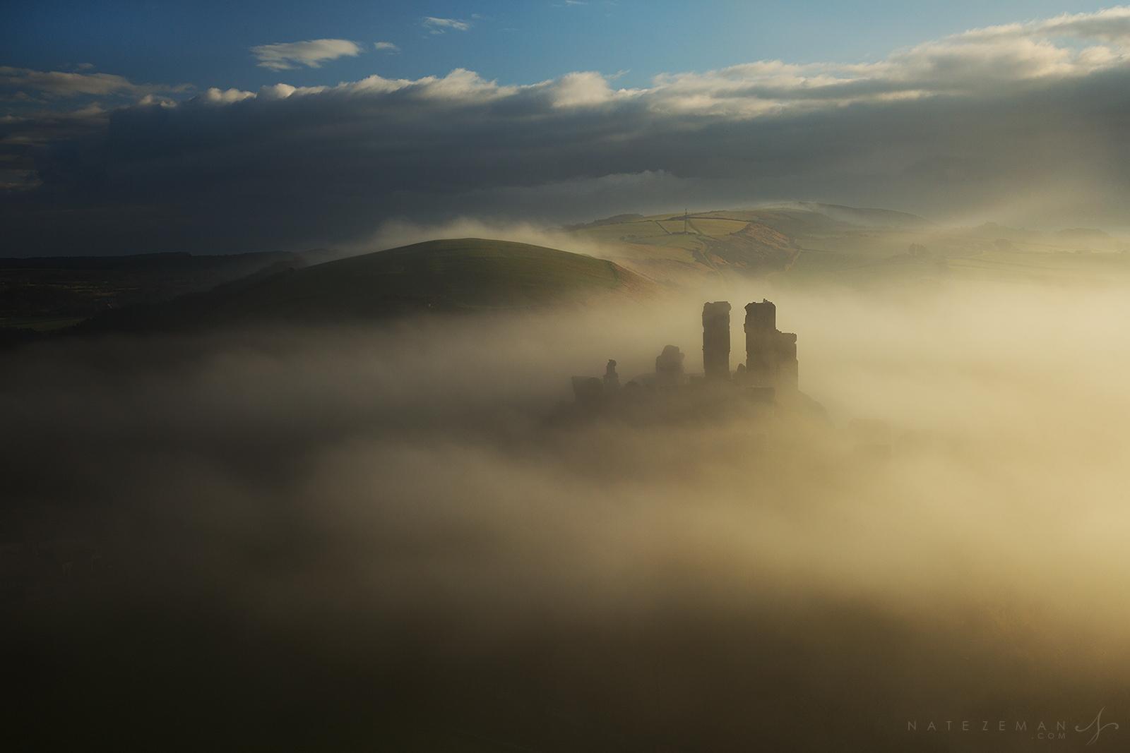 Corfe Castle, corfe, dorset, castle, fortress, fog, mist, , photo