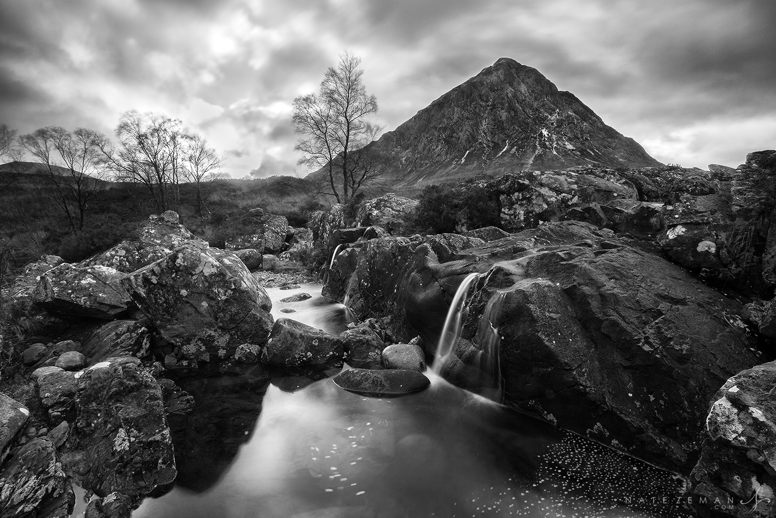 Buchaille Etive M​ò​r, glen etive, river etive, glen coe, scottish highlands, scotland, uk, river, black and white, mountain, storm, clouds., photo