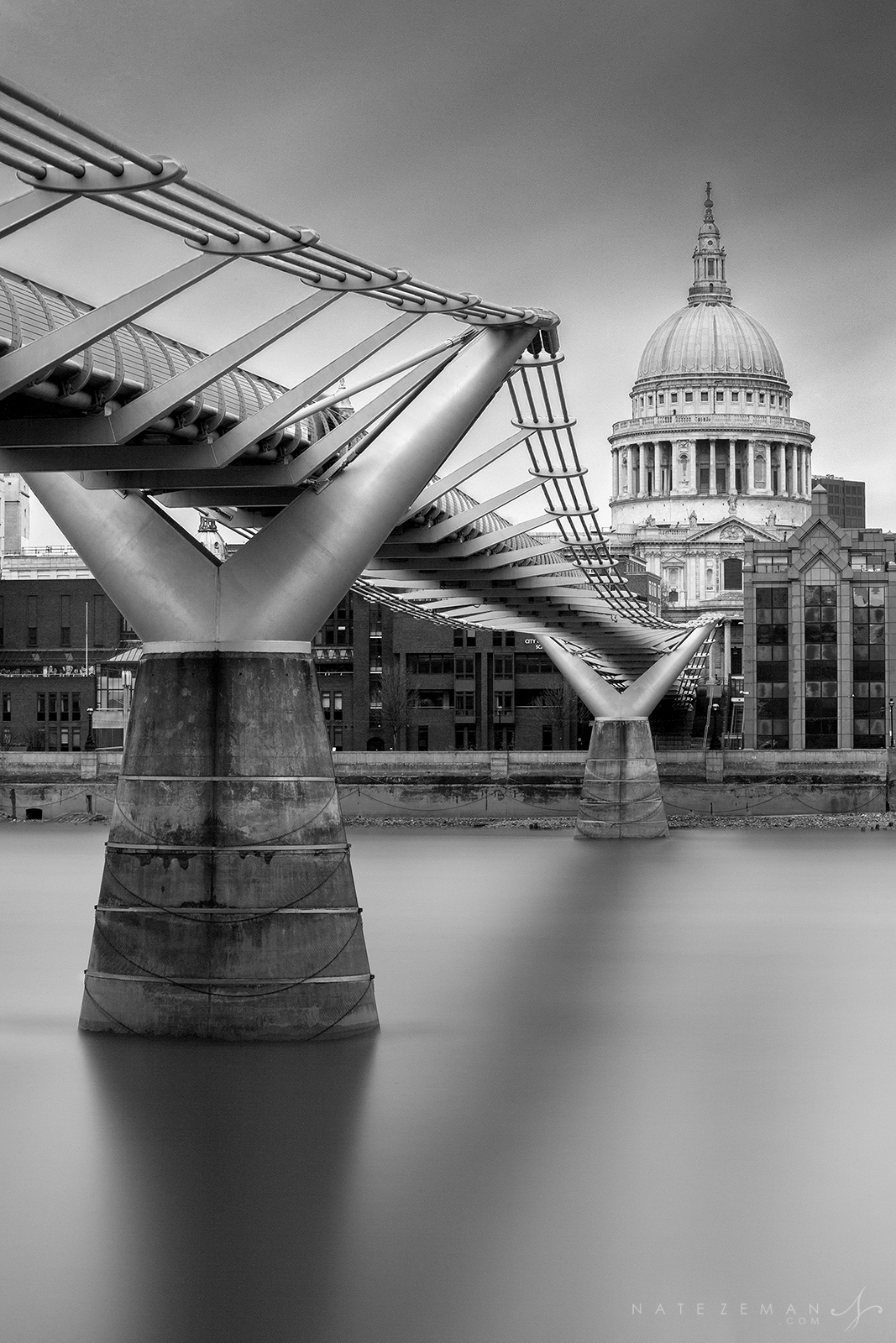 millennium bridge, black and white, london, st pauls, cathedral, river thames, long exposure, uk, england, cityscape, city, bridge, , photo